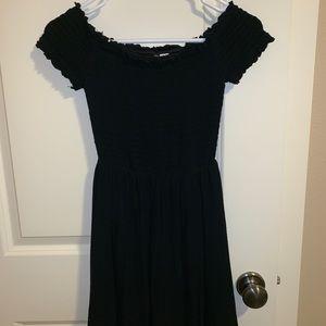 Divided Black Off-the-Shoulder Dress